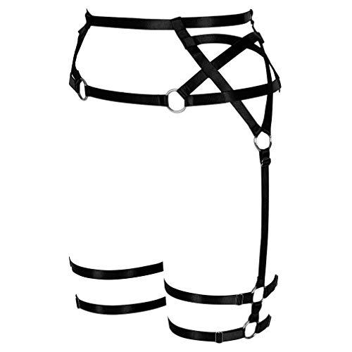 PETMHS Damen Pentagramm Harness Strumpfgürtel Punk Bein Taillengurte Dessous Verstellbar Oberschenkel Strümpfe Body Käfig Gürtel -  Schwarz -  Einheitsgröße