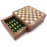 WJMLS Juego de ajedrez de Viaje - Juego de ajedrez Jaques Genuino Tallado a Mano Completo