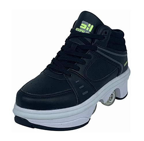 LED Multifuncional Deformado Zapatos 2 En 1 Hombres Mujeres Patines con Ruedas Deformables Zapatillas De Deporte Patinetas De Cuatro Ruedas,Negro,35