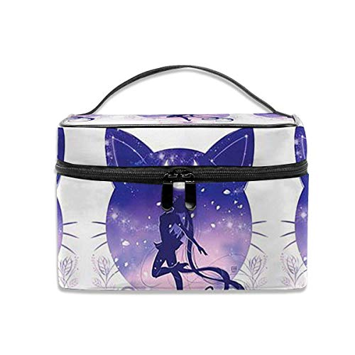 Almost-Okay-Shop Sailor Moon im Katzenhintergrund Multifunktions-Reise-Make-up-Koffer, professionelle Kosmetik-Make-up-Tasche Organizer-Make-up-Boxen, Toilettenschmuck für Frauen
