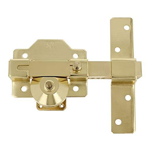 Amig - Cerrojo de Alta Seguridad para Puertas de Acabado Pulido Dorado, Bombillo Redondo de 50mm de Largo, Medida de Placa: Ancho 88mm, Alto 80mm, 9 x 15.5 x 8 cm