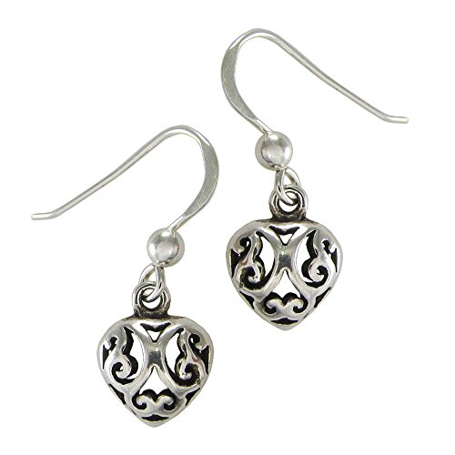 Sterling Silver Celtic Knotwork Heart Filigree Earrings