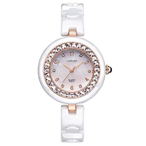 GAOHAILONG Diamant Keramikuhr weiße Frau einfach wasserdicht Damen Quarzuhr, Rose Gold