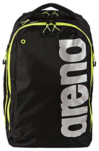 arena Unisex Rucksack Fast Urban (Wasserabweisend, Herausnehmbare Innentasche, Laptopfach, 30x50x20cm), Black-Fluo Yellow-Silver (50), One Size