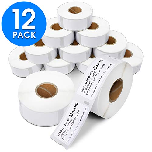 "Aegis - Compatible 30336 (1"" X 2-1/8"") Multipurpose Labels Replacement for DYMO 30336 Address & Barcode - for DYMO Labelwriter 450, 450 Turbo, 4XL Desktop Printers (12 Rolls)"