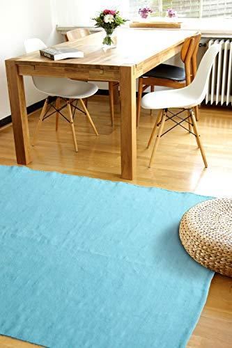 Moderner Baumwoll Teppich Living türkis/blau 80x150cm - waschbarer Webteppich aus 100{5b37d7ccd778a0a9645bf3bf032041d5c541306ba98ea971e6f250f4d29e913d} Baumwolle