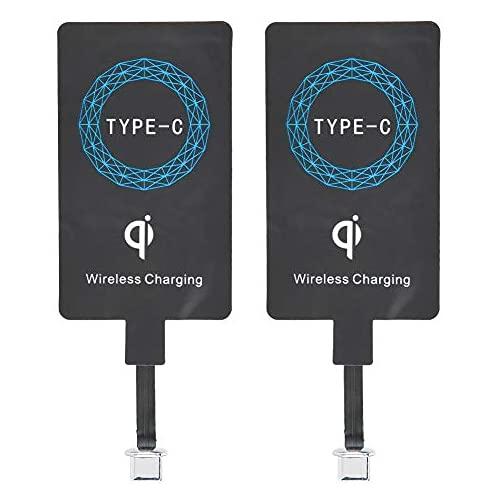 2Pcs Tipo C Qi Receptor de Carga Inalámbrico, Ultra Slim Universal USB-C Inalámbrico del Cargador Módulo Receptor, para Huawei Nova, para Samsung, para LG, y Otros Teléfonos con Interfaz Tipo C