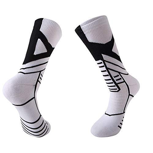 Manbozix Chaussettes de Sport Respirantes pour Hommes Chaussettes de Basket Professionnelles Chaussettes de Sport Anti-Transpiration, Blanc/Noir