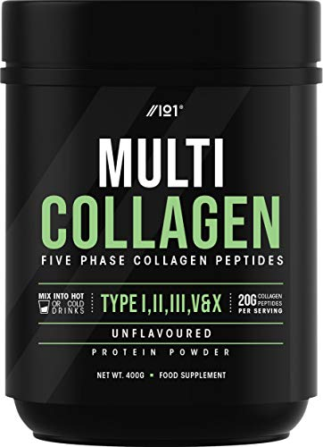 Multi Collagen Protein Powder - 5 Types of Food Sourced Collagen Peptides - Hydrolysed Grass Fed Bovine, Wild Caught Marine & Free-Range Chicken, Supports Joints, Skin and Nails, 200g (400g)