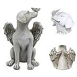 Engelsflügel und Schmetterlingshundedekor, Engelshund und Schmetterlingsstatue, Outdoor-Rasenhof-Polyresin-Tierfigur, für eine Outdoor-Gartentischdekoration