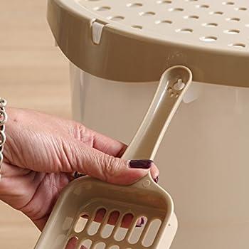 Iris Ohyama, Maison de toilette pour chat avec couvercle à trous, entrée par le haut et pelle - Top Entry Cat Litter Box - TECL-20, plastique, blanc, 52 x 37,5 x 36,5 cm