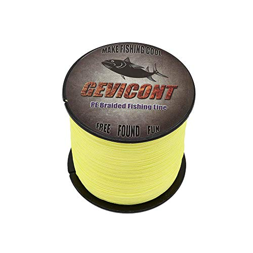 GEVICONT Braided Fishing Line Ultra Strong Multifilament Fishing line PE Material 4X Strands 328Yds-1094Yds 10-100Lb Multiple Colors Available for Saltwater and Fresh Water