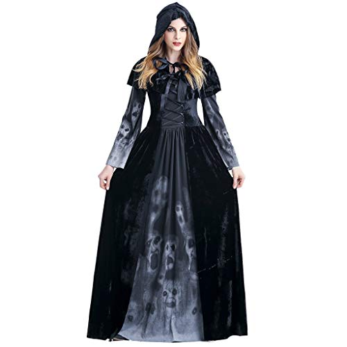 Damen Halloween Kleider Cosplay Kostüm Vintage Vampir Hexe Horror Braut Skelett Muster Party Karneval Festival Lange Maxi Kleid Schwarz M