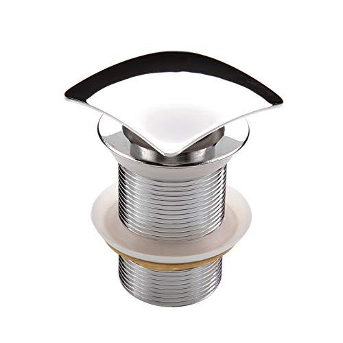 Sistema de desagüe universal Click Clack de alta calidad, cromado cuadrado de latón con válvula Pop Up sin rebosadero para lavabo/lavabo 1 1/4