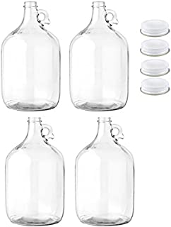Home Brew Ohio Glass Water Bottle, Includes 38mm Metal Screw Cap, 1 gal Capacity (Pack of 4)