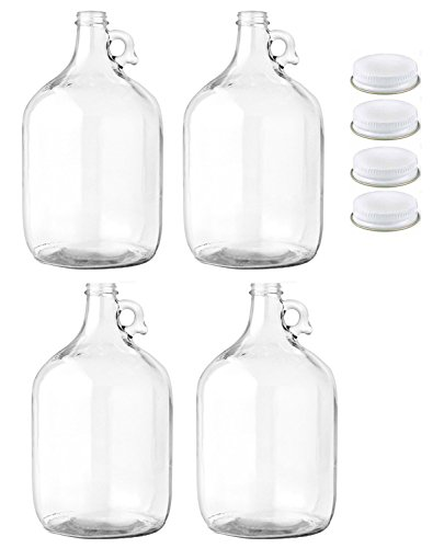FastRack Glass Water Bottle, Includes 38mm Metal Screw Cap, 1 gal Capacity (Pack of 4)