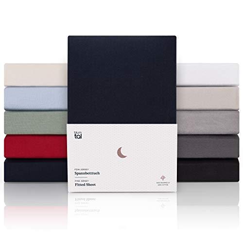 Blumtal Premium 2er Set Boxspringbett Spannbettlaken 100x200cm - Superweiches 100% Baumwolle Spannbetttuch, bis 40cm Matratzenhöhe, Tiefseeblau