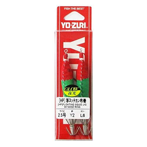 ヨーヅリ(YO-ZURI) スッテ: 浮スッテカン Y2 布巻 2.5 L6: 夜光ボディ×赤×緑