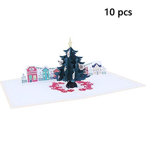 BAIVIT Tarjeta De Navidad 3D Tarjeta De Navidad De Deer Hecha A Mano con Papel Hecho A Mano. Tarjeta De Deseos (10 Piezas con Sobres),Christmastree