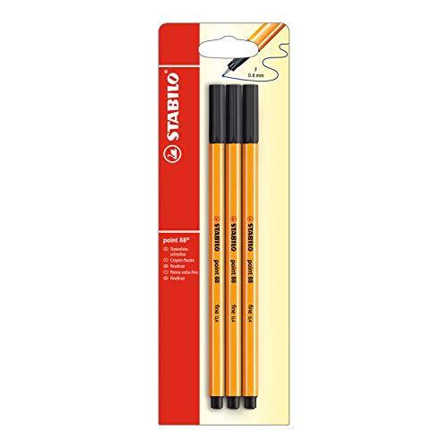 Fineliner - STABILO point 88 Blister of 3 Black