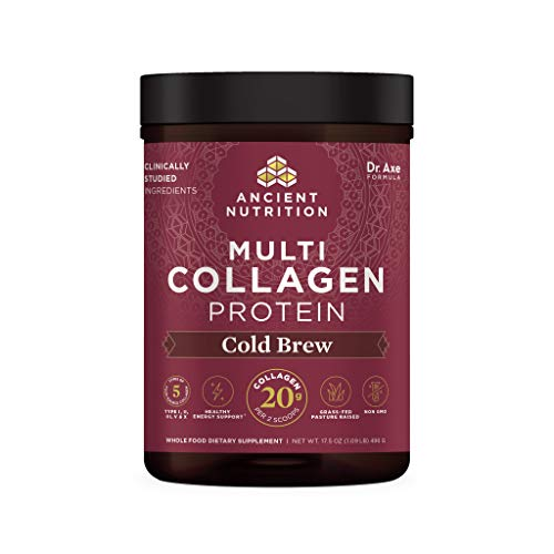 Collagen Powder Protein by Ancient Nutrition, Cold Brew Coffee Multi Collagen Protein with 40mg Caffeine/Serving, Hydrolyzed Collagen Peptides Supports Skin and Nails, Gut Health, 17.5 oz