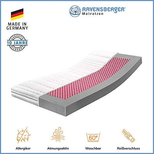 RAVENSBERGER Kinderbett HR-Kaltschaummatratze 70 x 140 cm   Antimon FREI - Silber FREI - ohne optische Aufheller   Baumwoll-Doppeltuch-Bezug