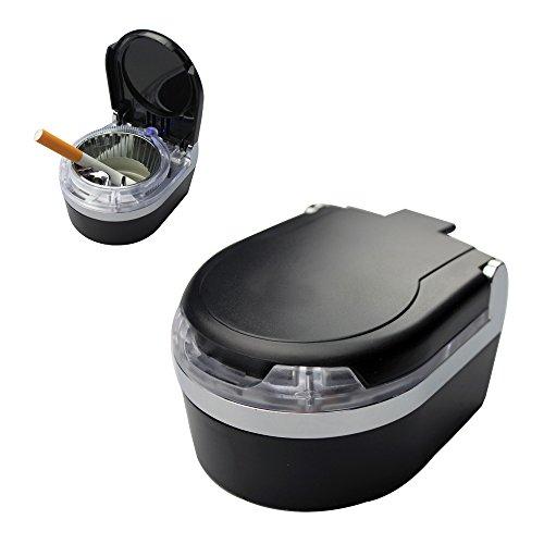 YamaziHD Mini Portable Car Ashtray Blue LED Light for Dashboard Cigar Cigarette (Black)