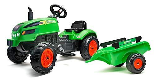 FALK 2048AB - Trattore a pedali X-Tractor con rimorchio, a partire da 2 anni, fabbricato in Francia, con cofano apribile, volante direzionale con clacson, 138 x 42 x 53