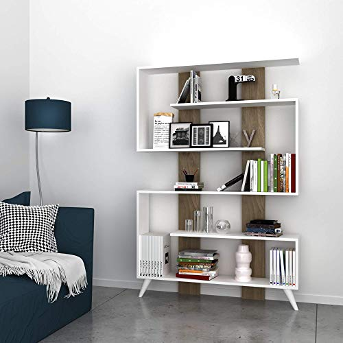 Homemania Libreria Jane, Legno, Bianco-Noce, 120 x 22 x 164 cm