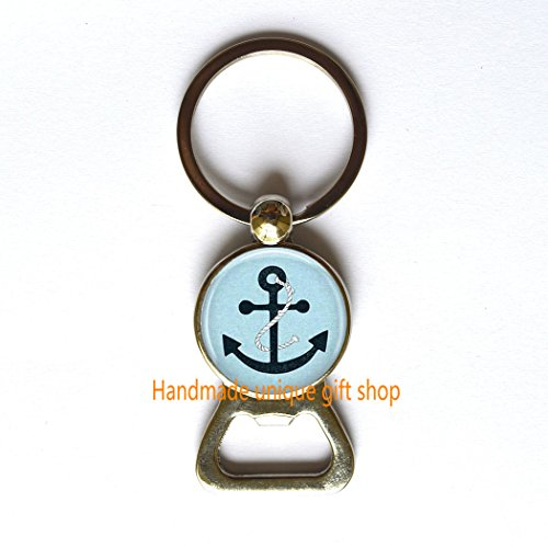 Navy Blue Anchor Bottle Opener Keychain Nautical Jewelry Ocean Ship Sailing Art Bottle Opener in Bronze Or Silver with Link Included.TD063 (A)