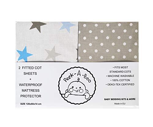 Lot de 3 draps-housses + 1 protège-matelas imperméable 100 % coton certifié Oeko-Tex (gris, étoiles multicolores et blanc, 120 x 60 cm) Fabriqué en UE