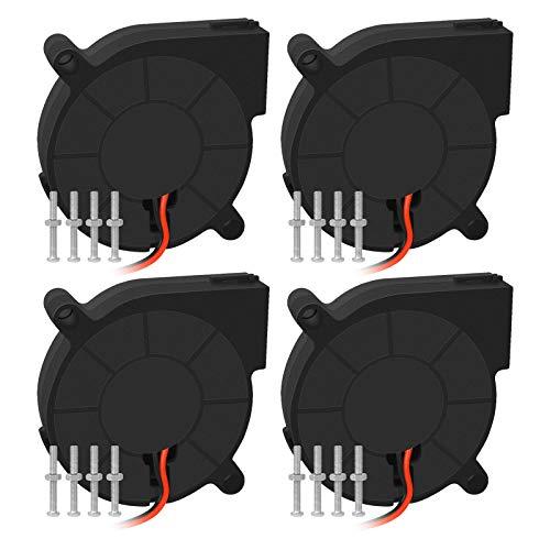 Qooltek 4PCS 3D-Drucker Turbolüfter 12 V, Gebläse, Lüfter (5015), mit 2-poligem 29,5-cm-Anschlusskabel für 3D-Drucker , Computer und andere Geräte. (50 * 50 * 15 MM)