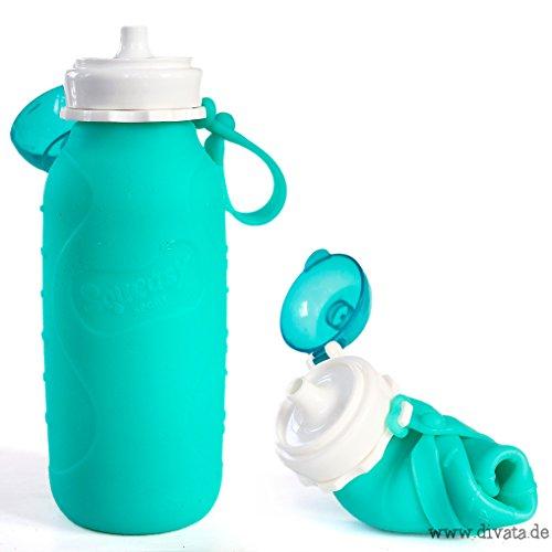 Squeasy Sport, 480 ml - Botella de Silicon, sin BPA | Para Pures, Yogurt, Zumos, Smoothies (Aqua)