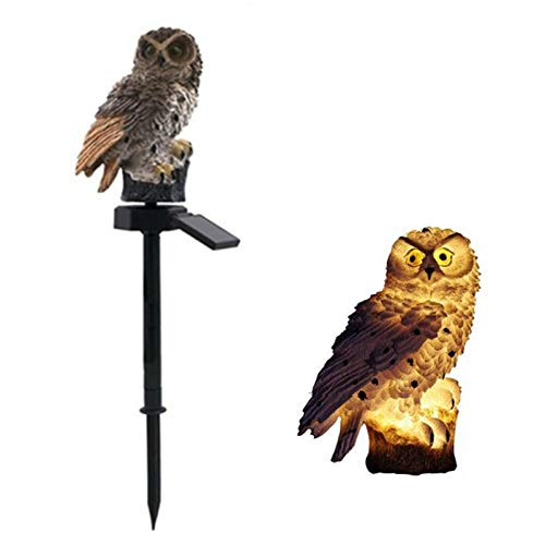Owl Shape Light LED Solar Garden Light, Animal Solar Lights for Garden, Owl Garden Lights Solar Powered Waterproof, for Courtyard Patio Pathway Yard (Brown)