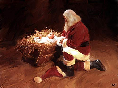 'First Christmas' Santa Claus Praying To Baby Jesus Nativity 11x17 Artist Signed Poster Print Fine Art By Mark Spears