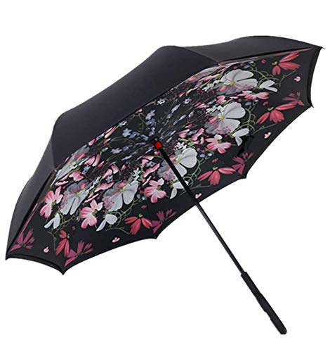 Reversion Regenschirm, Winddichtes Regenschirm umge Folding Double Layer Sunblock Umwelt Bumbershoot Double Layer Inside-Out Umgekehrte Umbrella (N19)