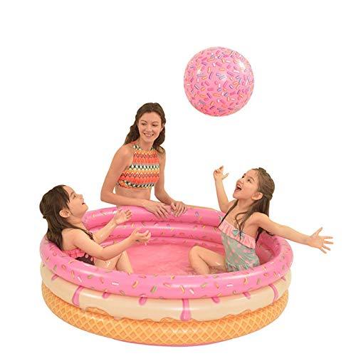 Piscina para niños, Piscina, Piscina de 120 cm Piscina Inflable de PVC, Sprinkler Kids, Agua Jugar Piscina Niños, Caballamiento Bebé, Almohadillas para niños (Color: Rojo) WTZ012 (Color : Pink
