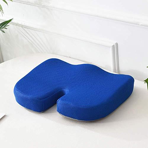 JUNQI Almohadillas de espuma viscoelástica, cómodo cojín hemorroide, malla antideslizante en forma de U, almohadillas para coxis, silla de oficina, silla de ruedas, color azul