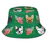 Flores francesas verdes Sombreros de cubo Unisex Actividad al aire libre Sol Protección Pescador Sombrero Material Cómodo Campamento Tapas Tapas para el Sol para el desgaste casual