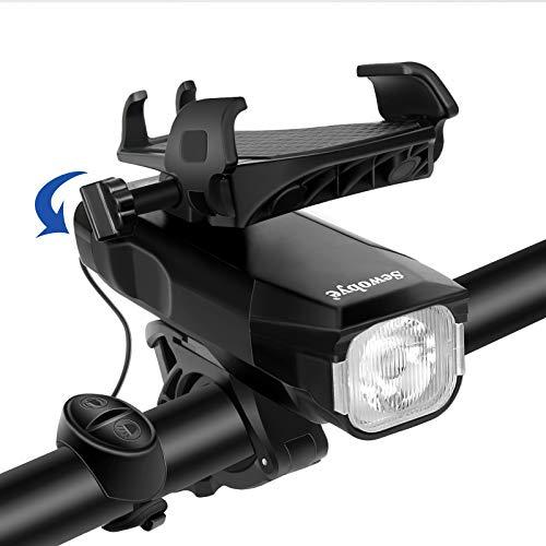 SEWOBYE Luz Bicicleta USB Recargable, 550 Lúmenes Luces Bicicleta con Alarma y Soporte Teléfono, Luz LED Bicicleta para MTB, Bicicleta Carretera (Black)