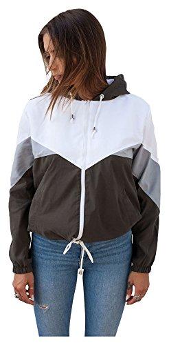 Blouson Damen Übergangsjacke Windbreaker Jacke Kapuzenjacke Colorblock (S, Khaki)