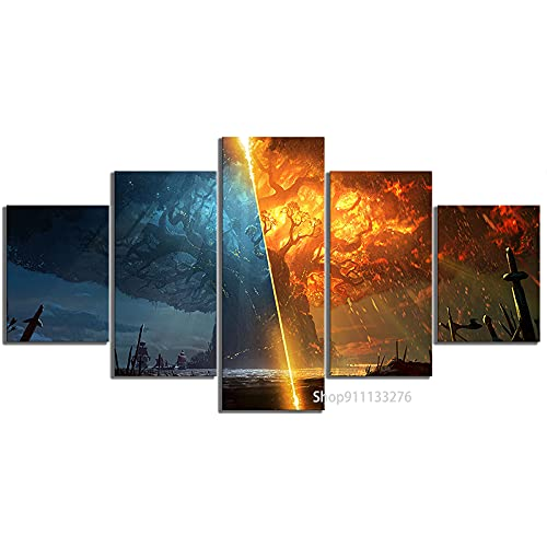 SVDS 5 Piezas Burning World of Warcraft Battle for Azeroth Game Posters Lienzo Pintura Pared Arte para decoración del hogar-Marco