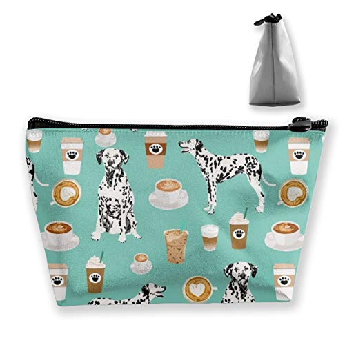 Ideal Gift - Dalmatians Cute Mint Coffee Best Dalmatian Dog Multifunction Trapezoidal Storage Bag Cosmetic Bag Small Makeup Bag Toiletry Bag Portable Travel Pouch With Zipper
