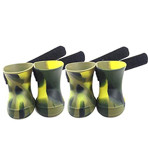 Csheng Botas para Perros Zapatos De Suela Blanda para Perros Zapatos para Cachorros Antideslizantes para Niños Pequeños Botas De Lluvia De Silicona para Mascotas Botas para L