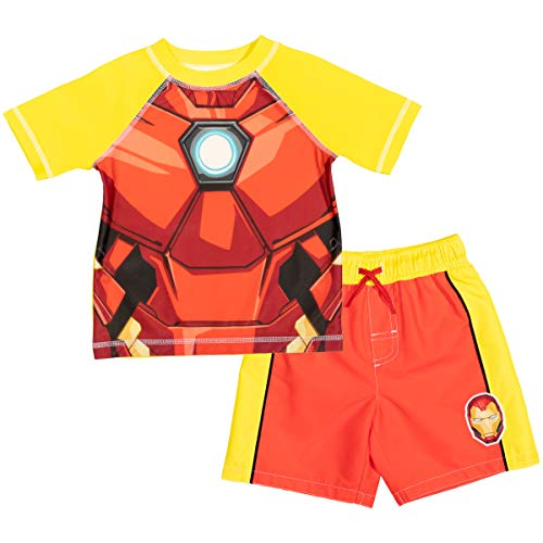 Marvel Avengers Iron Man Toddler Boys Swim Rash Guard Swim Trunks Set Red/Yellow 3T