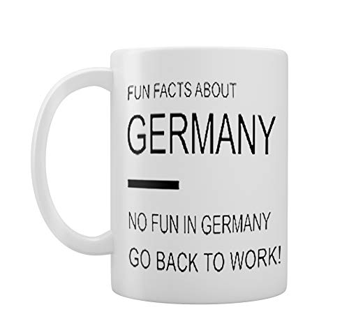 """Tee-/Kaffeetasse mit lustigem Design für die Arbeit, """"Fun Facts About Germany"""",Geschenkidee"""