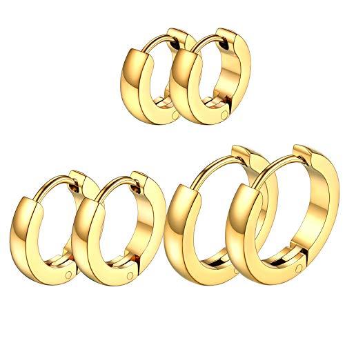 3mm Pendientes Redondos Oro Amarillo de Mujeres Acero Inoxidable 316L Aros Finos Clip de Orejas Modernos Aretes Dorados para Amigas 3 Pares