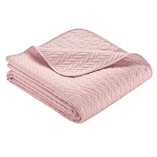 Ibena Nancy Tagesdecke 140x210 cm - Bettüberwurf rosa, leichte Decke mit Zopfmuster