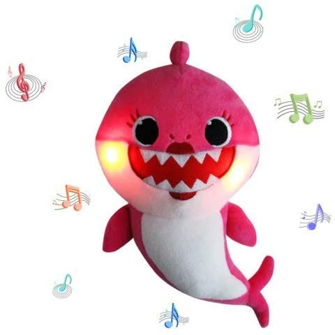 Lsxszz8-Weichem Plüsch Baby Shark Toy Weichem Plüsch Shark Cartoon Baby Mit Klang und Musik (Pink)