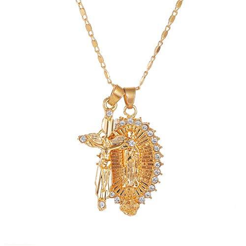 ZBOMR Virgen María Colgante con Collar De Cruz para Mujer/Hombres Chapado En Oro Católico Cristiano Jesús Cruz Collar De Cadena Joyería (Gold)